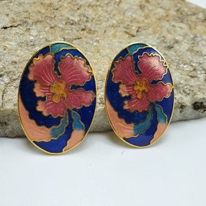 Vintage Cloisonne Earrings Flower Earrings Costume